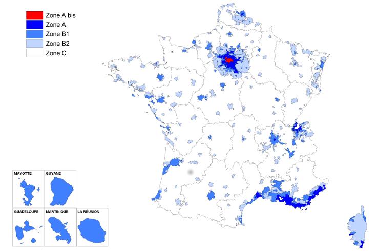 Loi Pinel : Notez aussi que le territoire français a été découpé en diverses zones qui correspondent à différents niveaux d'application de la loi