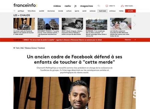 """Un ancien cadre de Facebook défend à ses enfants de toucher à """"cette merde"""""""