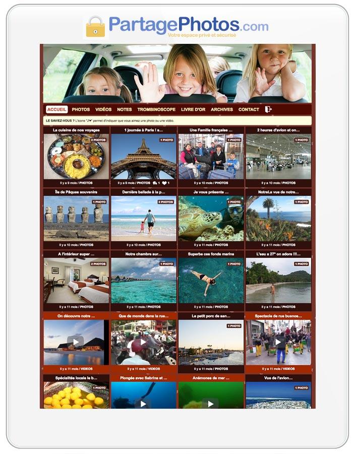 En quelques minutes, on peut ainsi mettre en ligne un grand nombre d'albums photos et de vidéos.